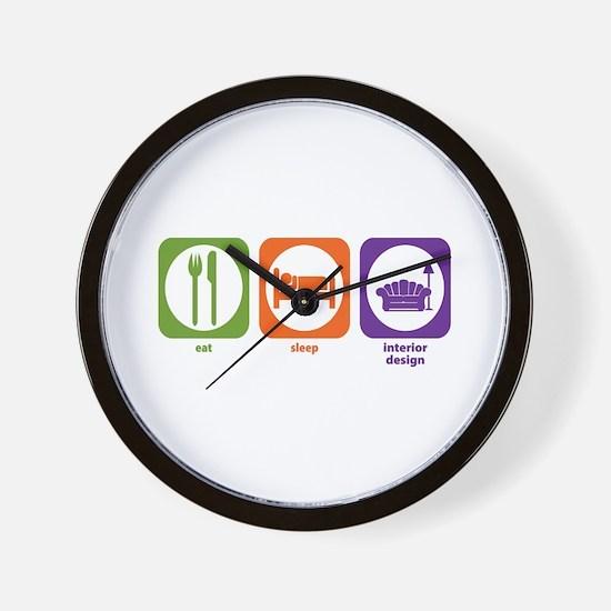 Eat Sleep Interior Design Wall Clock
