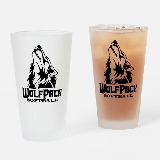 Wolf White Drinking Glass