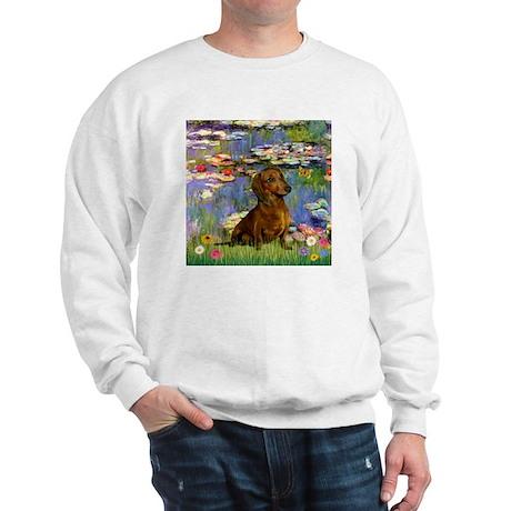 Dachshund in Monet's Lilies Sweatshirt