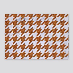 HOUNDSTOOTH1 WHITE MARBLE & RUSTED 5'x7'Area Rug