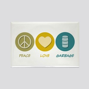Peace Love Garbage Rectangle Magnet