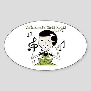 Vietnamese Girls Rock Oval Sticker