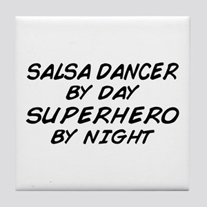 Salsa Dancer Superhero by Night Tile Coaster