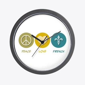 Peace Love French Wall Clock