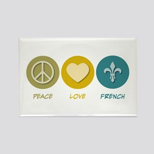 Peace Love French Rectangle Magnet