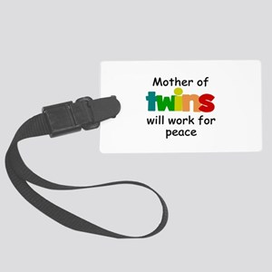 Mom of twins Large Luggage Tag