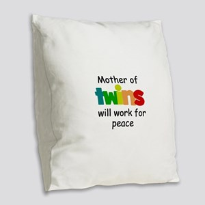 Mom of twins Burlap Throw Pillow