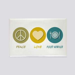 Peace Love Food Service Rectangle Magnet