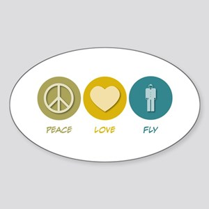 Peace Love Fly Oval Sticker