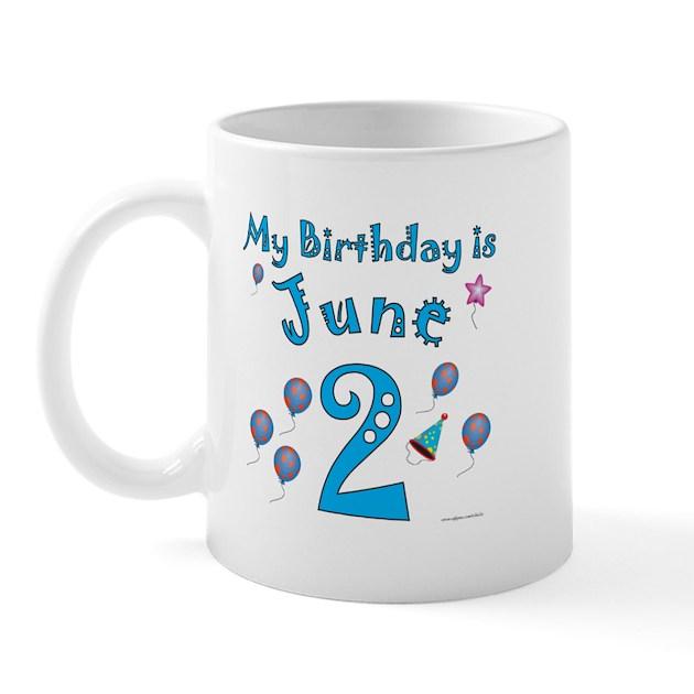 June 2nd Birthday Mug By Nikiclix