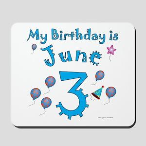 June 3rd Birthday Mousepad