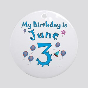 June 3rd Birthday Ornament (Round)