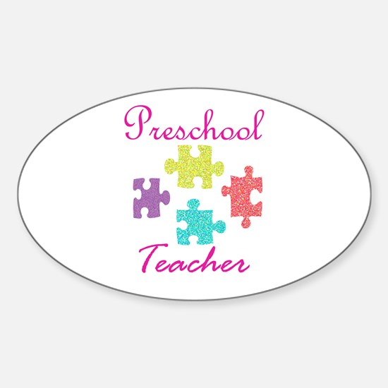 Preschool Teacher Sticker (Oval)