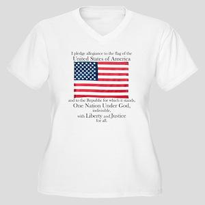 Pledge of Allegiance Women's Plus Size V-Neck Tee
