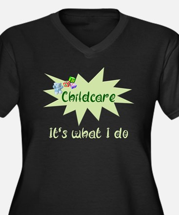 Childcare Women's Plus Size V-Neck Dark T-Shirt