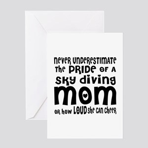 Never Underestimate Sky Diving Mom Greeting Card