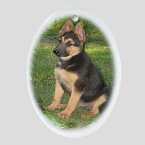 German Shepherd Puppy Ornament (Oval)