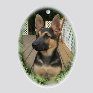 GSD Puppy Ornament (Oval)