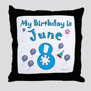 June 8th Birthday Throw Pillow
