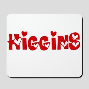 Higgins Surname Heart Design Mousepad