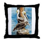 Brown Pelicans Throw Pillow