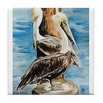 Brown Pelicans Tile Coaster