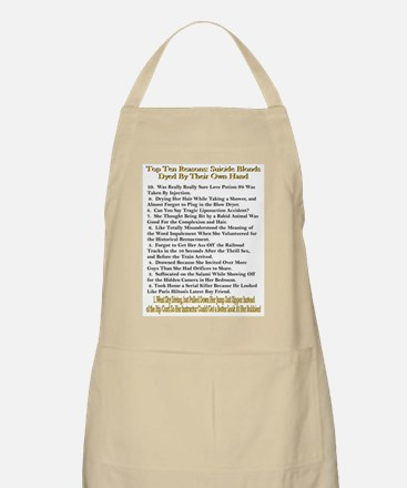 Top Ten Suicide Blond Reasons BBQ Apron