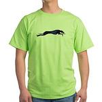 Green running whippet/greyhound silhouette T-Shirt