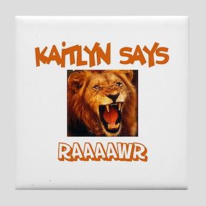 Kaitlyn Says Raaawr (Lion) Tile Coaster