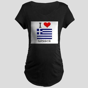 I Love Greece Maternity Dark T-Shirt