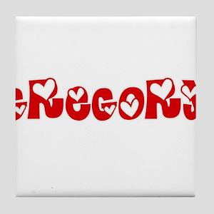 Gregory Surname Heart Design Tile Coaster