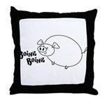 Weird Cartoon Flying Pig Throw Pillow - Boink!