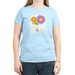 Have A Nice Day Smiley Flowers Ladies Pink T-Shirt