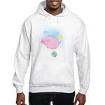 Funny, Weird Cartoon Flying Pig Hooded Sweatshirt