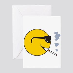 Smoking Cigarette Smiley Face Greeting Card