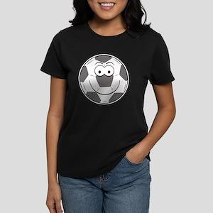 Soccer Ball Smiley Face Women's Dark T-Shirt