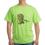 Creepy Doll Head Green T-Shirt
