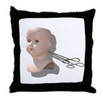 Creepy Doll Head Throw Pillow
