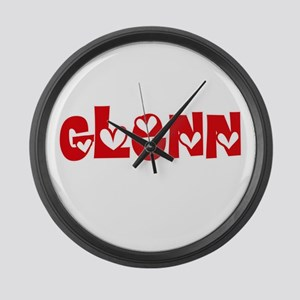 Glenn Surname Heart Design Large Wall Clock