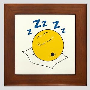 Sleeping/Snoring Smiley Face Framed Tile