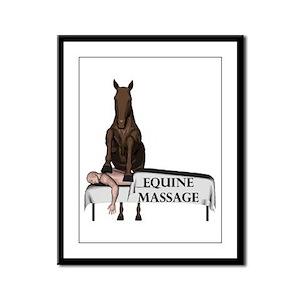 Equine Massage Framed Panel Print