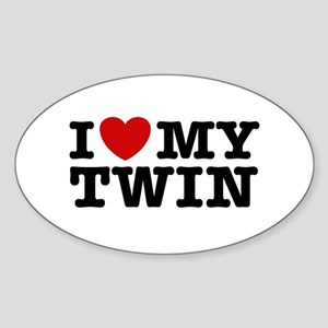 I Love My Twin Oval Sticker