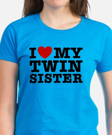 I Love My Twin Sister Women's Dark T-Shirt