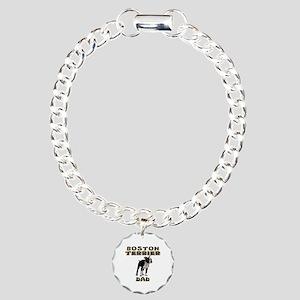 Boston Terrier Dad Charm Bracelet, One Charm