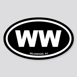 WW Wildwood, NJ Black Euro Oval Sticker