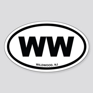 WW Wildwood, NJ Euro Oval Sticker