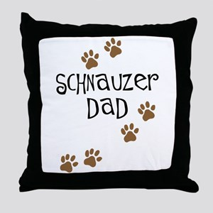 Paw Prints Schnauzer Dad Throw Pillow