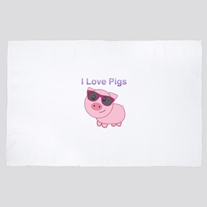 I Love Pigs Pink Pig 4' x 6' Rug