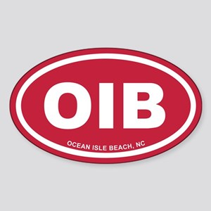 OIB Ocean Isle Beach, NC Euro Red Oval Sticker