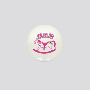 Pink Rocking Horse Mini Button